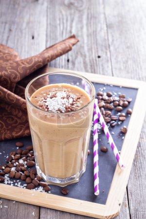 Photo pour Coconut coffee chocolate smoothie on a chalk board - image libre de droit