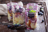 Bread berry pudding in mason jars