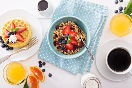 Photo for Breakfast bowl with homemade granola and berries - Royalty Free Image