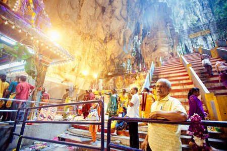 BATU CAVES, MALAYSIA - JAN 18 2014 : Thaipusam at Batu Caves tem