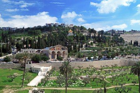 Photo pour Église de toutes les Nations et Mary Magdalene Convent sur le Mont des oliviers, Jérusalem, Israël - image libre de droit