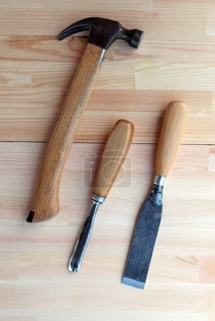 Carpenter Tools Plane, Hammer and Chisel