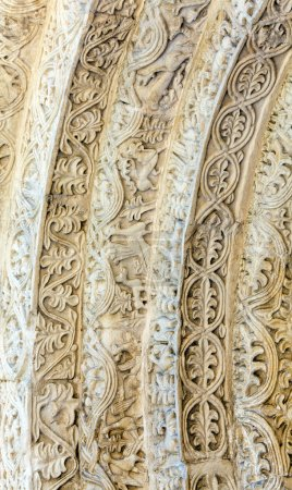 Photo pour Gravure sur pierre à la cathédrale Saint-Démétrius (XII s.), site du patrimoine mondial de l'UNESCO, Vladimir - image libre de droit