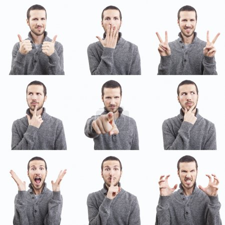 Young man funny face expressions composite