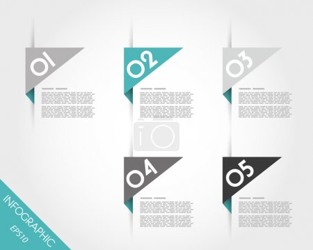 Illustration for Turquoise triangular modern stickers. infographic concept. - Royalty Free Image