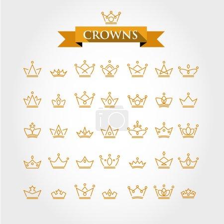 Illustration pour Ensemble de couronnes, concept d'icônes dorées - image libre de droit
