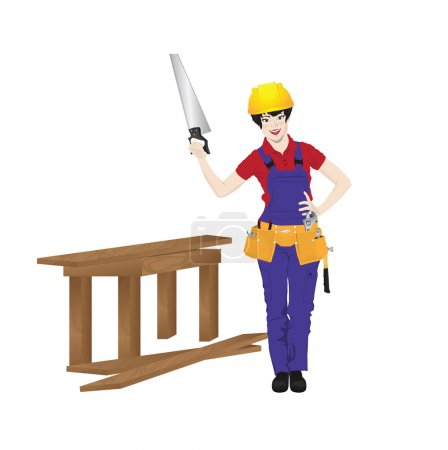 Vector illustration of female worker