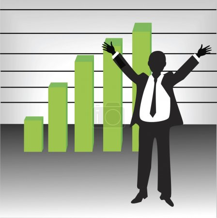 successful businessman silhouette with rising chart vector