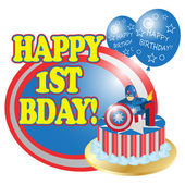 First birthday card clip art inspired by captain america
