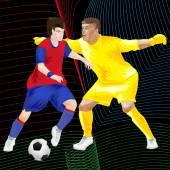 Clip art of two football players playing football over a dimensional background