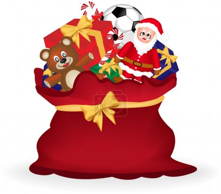 Vector image of a christmas gift sack with teddy bear, santa claus and gift box.