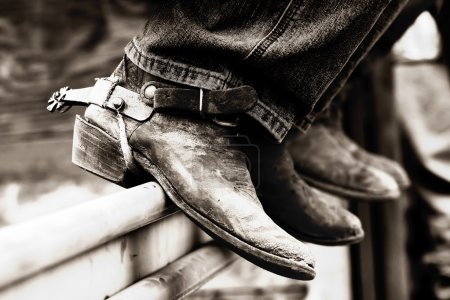 Rodeo Cowboy Boots in Black and White