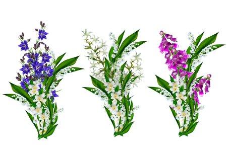Photo pour Campanule de fleurs bleues isolée sur fond blanc - image libre de droit