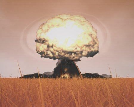 Photo pour L'explosion tridimensionnelle du nuage de champignons symbolisant les enjeux de la guerre mondiale, la protection de l'environnement et le danger de l'énergie nucléaire (programme Rendu en 3D) ). - image libre de droit