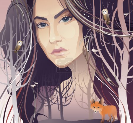 Illustration for Beautiful Young Woman in Forest - vector illustration. Female Face, Trees Trunks, Forest and Animals depicting Mother Nature. Mother Nature. Woman Tree. Mother Earth. Portrait. Environmental Conservation or Ecology concept - Royalty Free Image