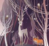 The vector illustration of the Animals in Forest Deer Red Fox Owl Birds Deer Walk Through a Trees in Forest Wood Woodland Vector illustration EPS8 No Transparency!