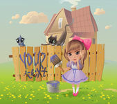 The vector illustration of the Girl writing the Message on the Fence Instead of