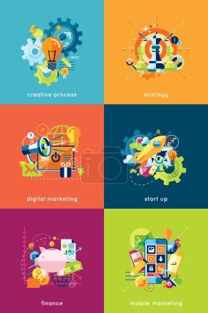 Illustration pour Illustration vectorielle ensemble de concepts pour les entreprises et la finance - image libre de droit