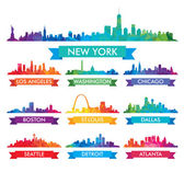 City skyline of America Colorful vector illustration