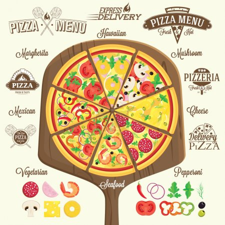 Illustration for Pizza menu, labels and design elements - Royalty Free Image