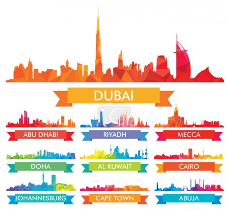 Illustration for Colorful city skyline The arabian Peninsula and Africa - Royalty Free Image