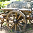 The old cart with hay stands in anticipation of th...