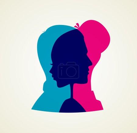 Illustration pour Illustration vectorielle de la silhouette Couples - image libre de droit