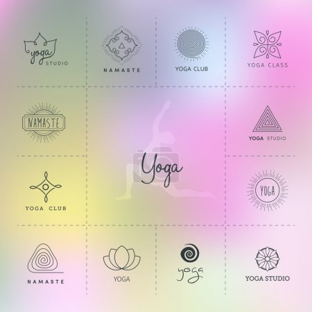 Illustration for Vector illustration of Set of logos for a yoga studio - Royalty Free Image