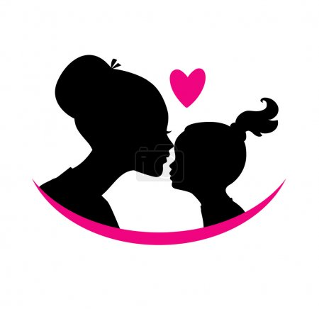 Vector illustration of Mom and daughter love...
