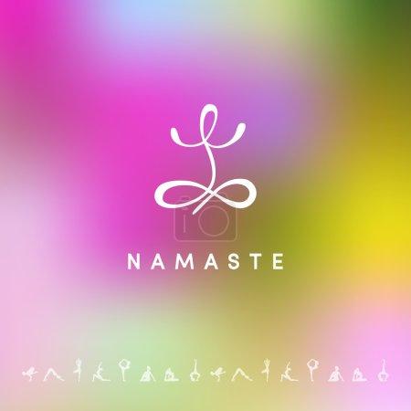 Illustration for Vector illustration of Blured background with yoga logo - Royalty Free Image