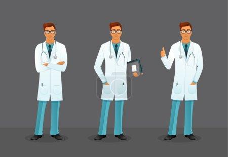 Illustration pour Illustration vectorielle du Docteur dans différentes poses - image libre de droit