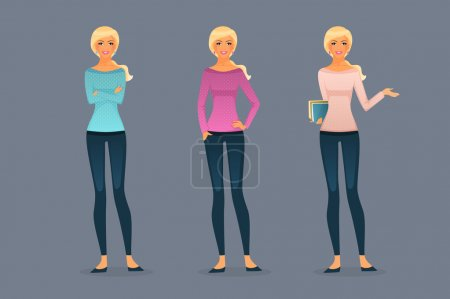 Photo for Vector illustration of Beautiful and young girls - Royalty Free Image