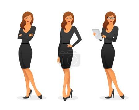 Illustration pour Illustration vectorielle de Femme d'affaires dans différentes poses - image libre de droit