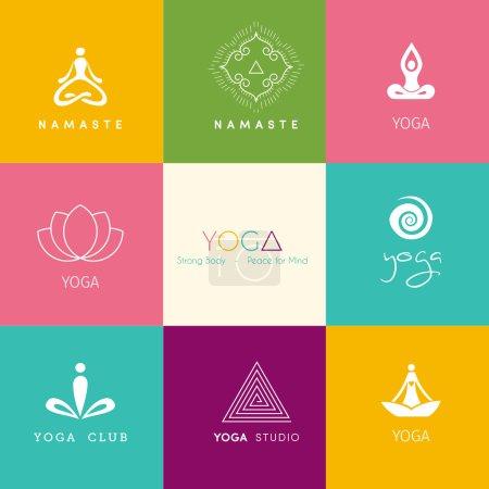 Illustration for Vector illustration of Set of logos for a yoga studio - Royalty Free Image