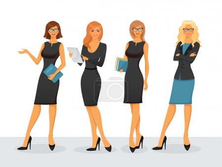 Illustration for Vector illustration of Businesswoman in various poses - Royalty Free Image