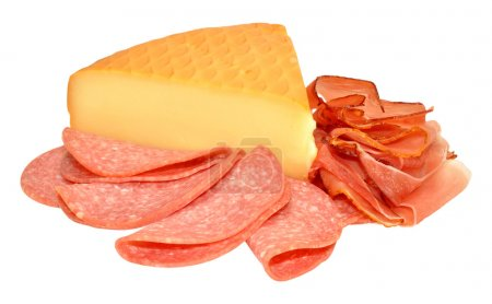 Traditional German smoked cheese and slices of sal...