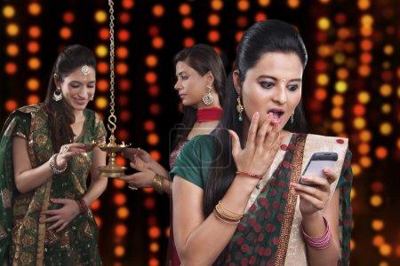 Young women celebrating Diwali