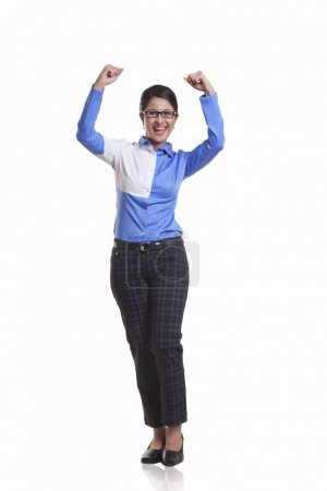 Businesswoman showing fists