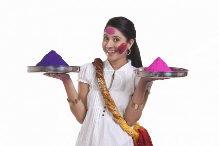 woman  with holi colours