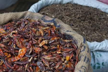Photo pour Gros plan sur les piments secs en sacs - image libre de droit