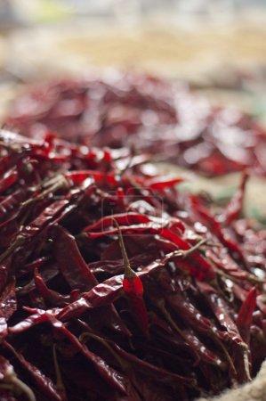 Photo pour Sécher les piments rouges à vendre au marché - image libre de droit