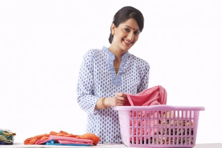woman sorting out clothes