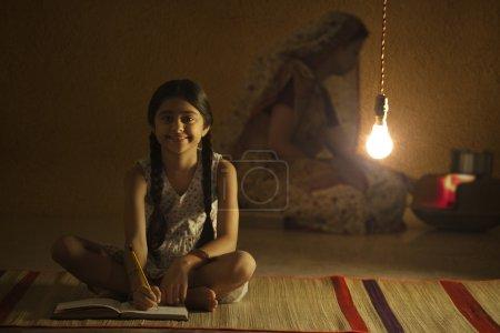 girl studying at night