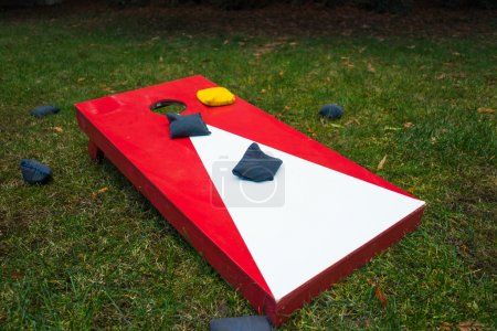 Photo for Plain cornhole toss game board with colorful bean bags outdoors on grass. - Royalty Free Image