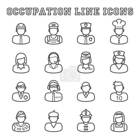 Photo pour Icônes de ligne d'occupation, symboles mono vectoriels - image libre de droit