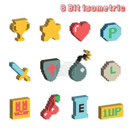 8 bit isometric icons