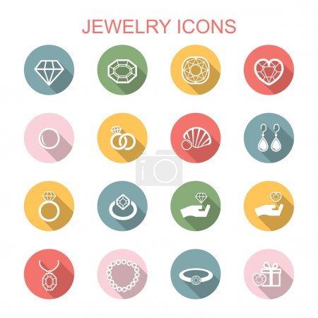 Photo for Jewelry long shadow icons, flat vector symbols - Royalty Free Image