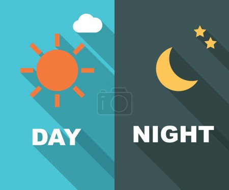 Illustration for Day and night long shadow flat, vector symbols - Royalty Free Image