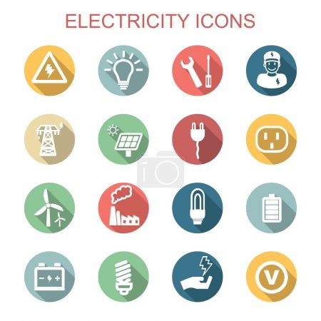 Illustration for Electricity long shadow icons, flat vector symbols - Royalty Free Image