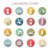Landmark long shadow icons flat vector symbols